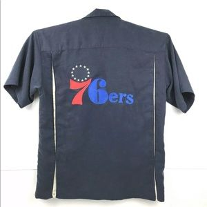 NBA PHILADELPHIA 76ers Mens Shirt Large Blue